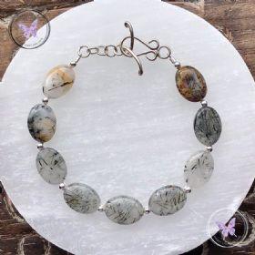 Tourmaline Quartz Crystal Silver Bracelet With Silver Toggle Clasp